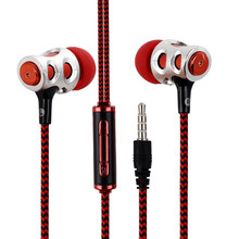 3.5mm Jack Earphone Crack SUper Bass Headphone Metal Braided with Microphone Wired Control for iPhone Samsung htc xiaomi MP4 MP3