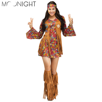 MOONIGHT 3 Pcs Women Halloween Carnival Indian Costume Womens Halloween Adult Fancy Dress