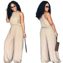835561f1eeba Plus Size 3XL Solid Yellow Beige Wine selling sexy Women s clothing Fashion  loose summer models hanging neck strap sexy jumpsuit