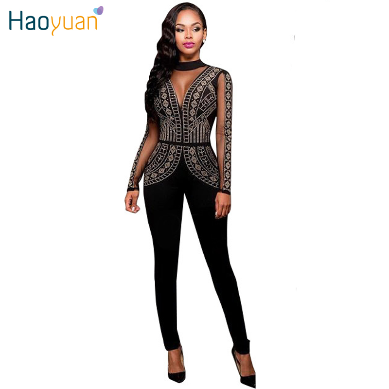 3b47917e3 Autumn Long Sleeve Rompers Womens Jumpsuit One Pieces Full Backless  Bodysuits Combinaison Femme Black Sexy Bodycon Jumpsuits-in Jumpsuits from  Women's ...