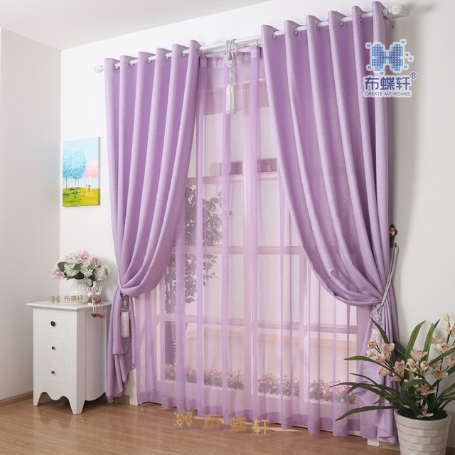 Modern Simple Style Solid Color Light Purple Cheap Curtain For Living Room Hotel Kitchen Customized