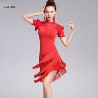Latin Dance Dress Women CHEAPEST Tango Salsa Dress Samba 4 Colors D0108 Lace Ruffled Sleeve Irregular Tassel Hem