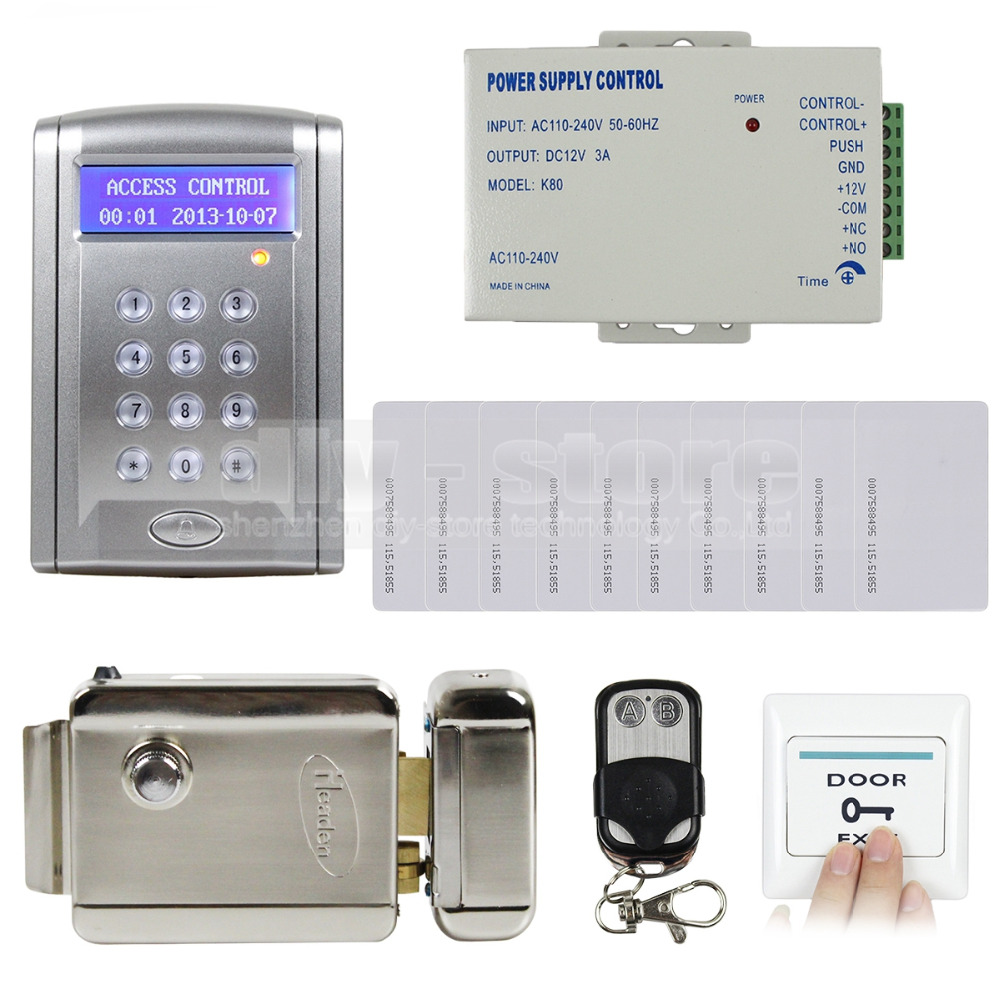 DIYSECUR Remote Controlled 125KHz RFID Door Lock Access Control System Kit with Doorbell Button + Electric Lock BC200 diysecur magnetic lock door lock 125khz rfid password keypad access control system security kit for home office