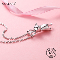 Collare 100 925 Sterling Silver Cat Pendant Lovely Cute Animal CZ Jewelry Girl S Dainty Gift