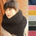 2017 Осень зима Корейских женщин 6 чистый цвет Candy трикотажные теплые воротник кольцо Шарф ядра Клобук Wrap шарф