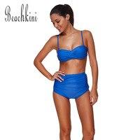 الكلاسيكية ruched أضعاف النساء رفع ملابس السباحة الشاطئ ملتوية مبطن البرازيلي بيكيني مجموعة عالية مخصر المايوه الأزرق