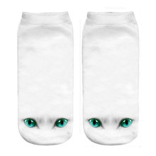 white cat eyes 3d print ankle socks 2019 new wholesale dropshipping(China)