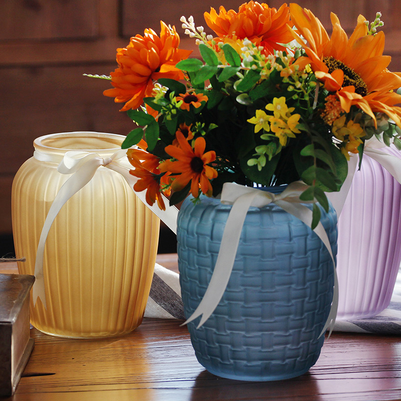 Colored frosted glass Vase home wedding Desktop vase decoration Glass hydroponic container for Home Decoration