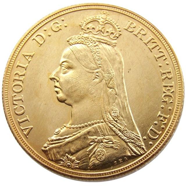 England Uk 1887 Eine Krone Königin Victoria Gold Kopie Münze In