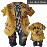 Special Offer Spring Fall British Style Letters Casual Blazers Shirt Jeans Pants 3 Piece Sets Baby
