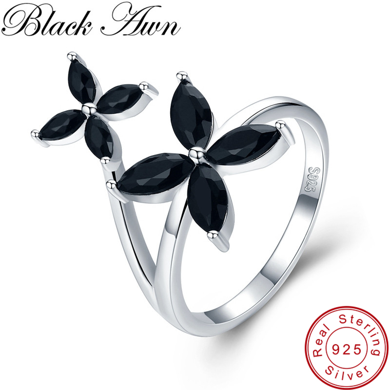 [BLACK AWN] 100% <font><b>Real</b></font> <font><b>925</b></font> Sterling Silver <font><b>Ring</b></font> Black Spinel Flower Elegant Wedding <font><b>Rings</b></font> <font><b>for</b></font> <font><b>Women</b></font> Sterling Silver Jewelry G032 image