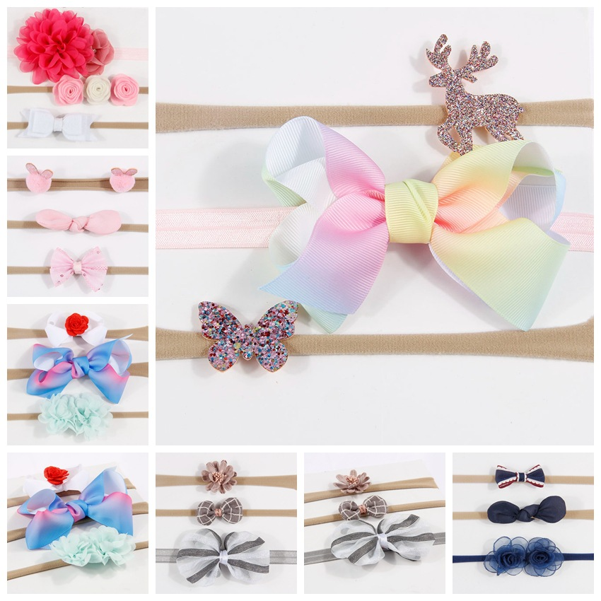 Headwear Bow Hair Band Dot Knot Headband Newborn Infant Children Hair Accessories Elastic HairBands 10pcs sweet diy boutique bow headbands elastic head band children girl hair accessories headwear wholesale