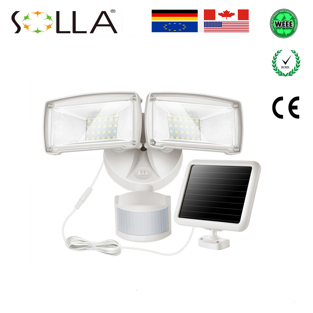 10W Solar Powered Motion Sensor LED Flood Light 3.7V 1500mah Battery 48LED Security Light PIR Flood Lights Outdoor Lighting