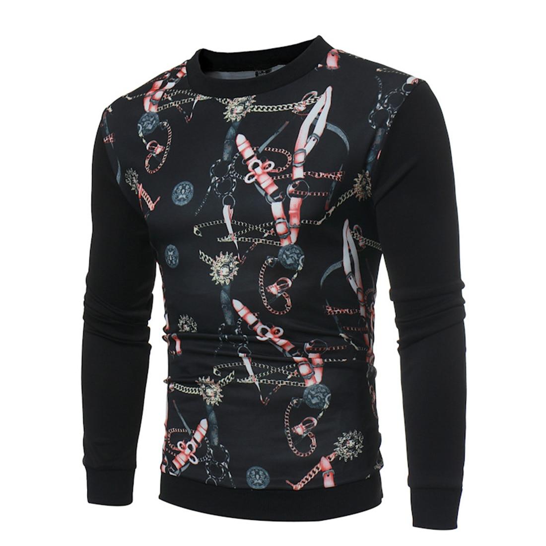 YJ(15) Store Hoodies Men's Long Sleeve Autumn Winter Sweats Crewneck Tops Sportswear Sweat 3D Floral Sweatshirts Print Tops Hoody Round Nick