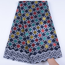 Kalume האחרון אפריקאי שוויצרי כותנה תחרה בד באיכות גבוהה שוויצרית וואל תחרה בשוויץ עם אבנים עבור שמלת תפירת 1671