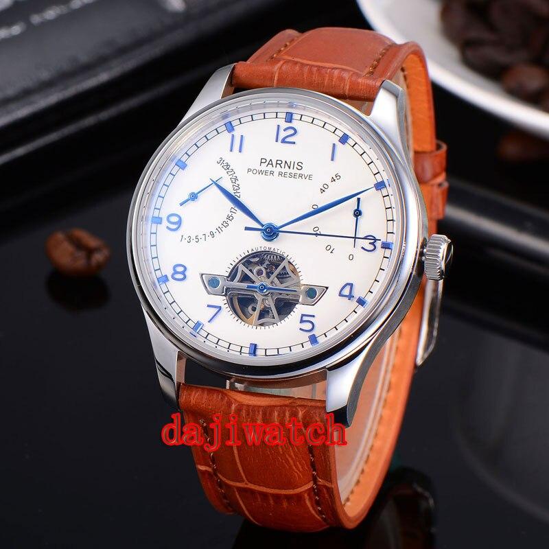 43mm relógio Parnis Branco Discar Power Reserve ponteiro gaivota 2505 relógio dos homens Mecânicos automáticos PN-235D