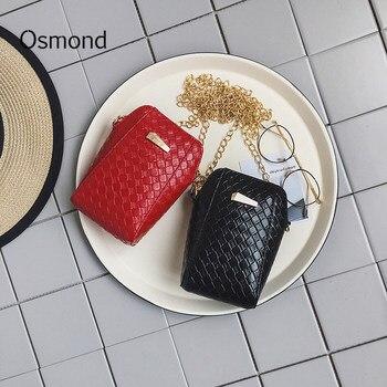 Osmond Small Handbag Chain Bags Women Crossbody Bags Black Weaving Leather Messenger Shoulder Bags Lady Pockets Girls Purses