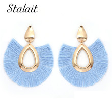 Statement Big Water Drop Shape Tassel Earrings Luxury Brand Ribbon Fringe For Women Bohemian Jewelry