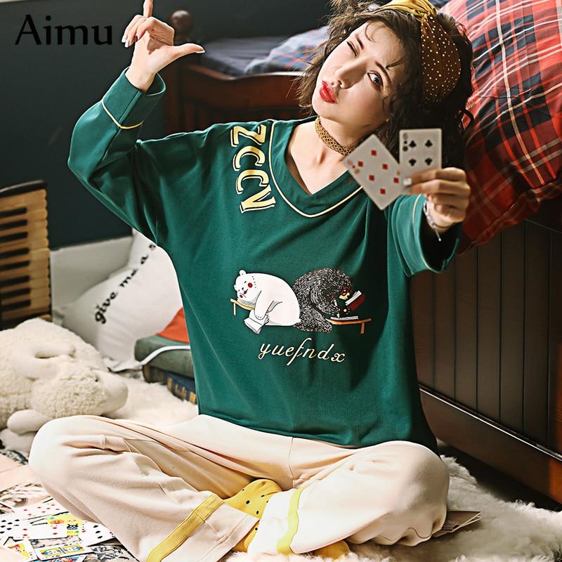 2019 spring Comfortable Cotton cartoon Printing Top + Long Pant 2 Piece   Sets     Pajamas     Set   For Women Cute Sleepwear Girls Pyjamas