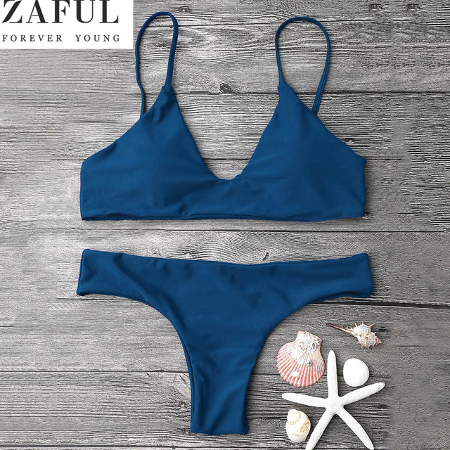 a764a991f8786 ZAFUL New Sexy Bikinis Women Swimsuit Low Waisted Bathing Suits Swim Push  Up Cami Padded Bralette Bikini Set Beach Swimwear