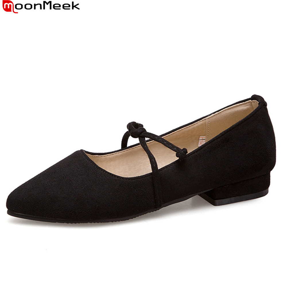 MoonMeek spring summer new prevail pointed toe pumps women shoes shallow slip on flock square low heels ladies shoes