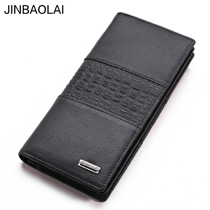 Brand 100% Cow Genuine Leather Men Long Wallet Many Departments Bifold Man Wallets No Zipper Card Holder Purses Male Wallets