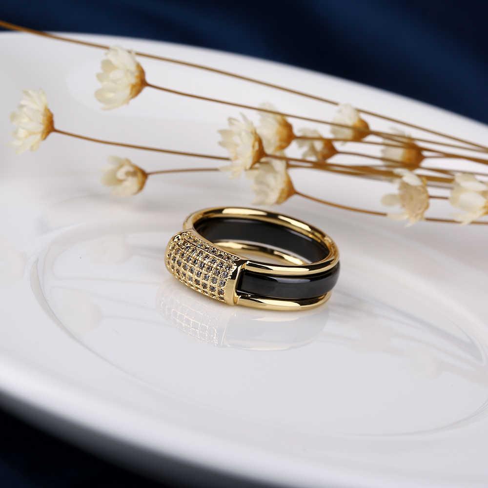 2 ชิ้น/เซ็ตขายร้อนแฟชั่น 585 Gold แหวน Rhinestone 2 ชั้นสีดำสีขาวเซรามิคที่ถอดออกได้แหวนเครื่องประดับ