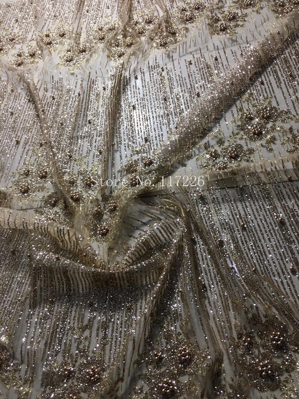 Gold farbe top verkauf glitter mesh material für abendkleid 5 yards spezielle JRB-1001 geklebt glitter spitze stoff mit perlen