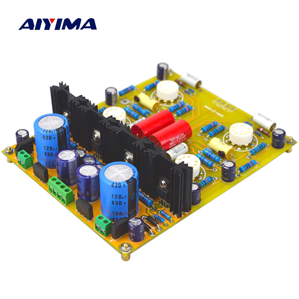Aiyima Tube Pre Audio Amplifier Board PRT05A Vacuum Tube Bile Preamplifier Board Dual Channel Refers to Conard-Johnson aiyima 12v tda7297 audio amplifier board amplificador class ab stereo dual channel amplifier board 15w 15w