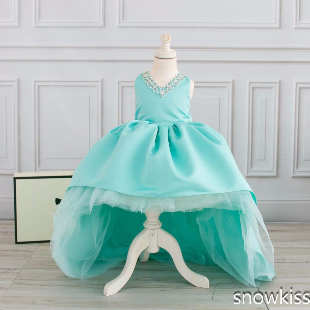 2017 mint high low flower girl dress for wedding with long train crystals ball gown kids 1st birthday party outfits baby dresses ball gown sky blue open back with long train ruffles tiered crystals flower girl dress party birthday evening party pageant gown
