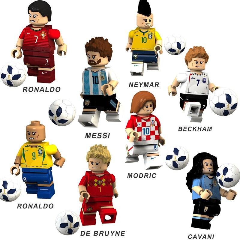 8Pcs/Set Football Player Figure Spartak Moscow Argentina team Building Blocks Sets Bricks Model Kids Toys Compatible Legoings