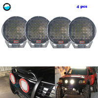 4 X 185w 9inch Red/Black round led driving light Spot Offroad LED Light Bar For 4WD 4x4 Car Truck Trailer SUV Boat ATV.