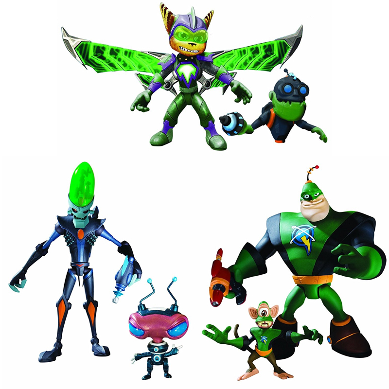 NEW Game Ratchet & Clank Captain Qwark,Dr. Nefarious,Armored Ratchet Action Figure Collectible Mascot Toys