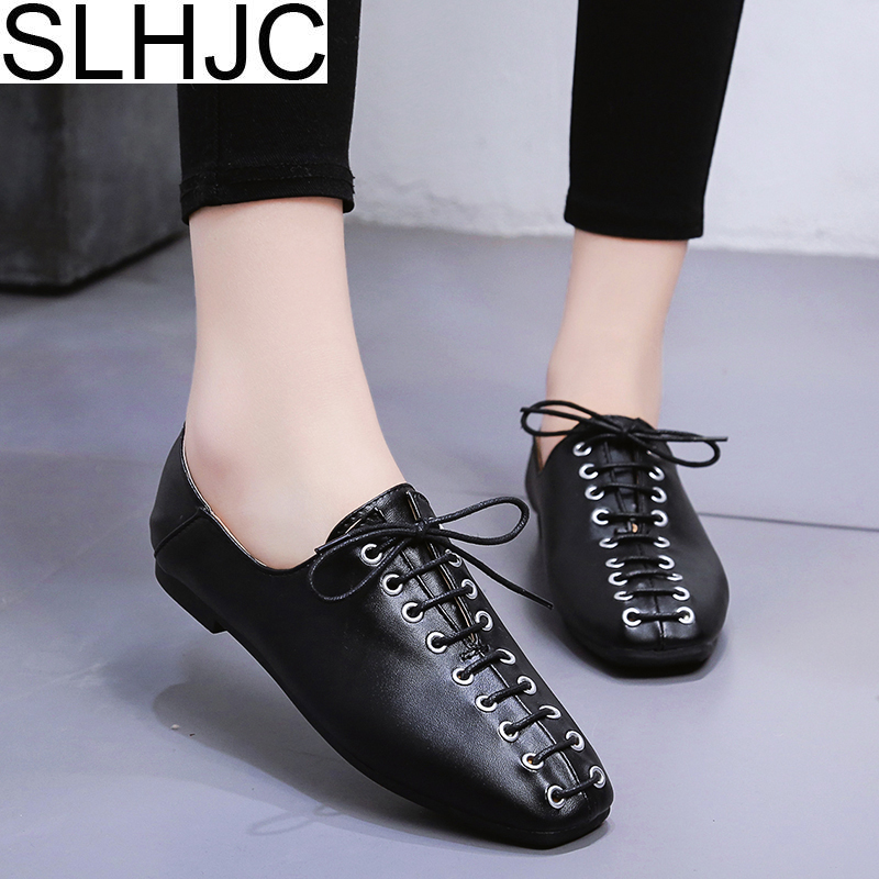 SLHJC Women Flats Lace Up Casual Leather Square Toe Spring Autumn Flat Heel Sneakers 2018 New Daily Flat slhjc women summer autumn flats pointed toe shallow mouth flat heel sandals rivet shoes casual lady shoes