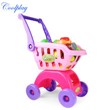 Children Shopping Cart Supermarket Play With Mini Kitchen Set