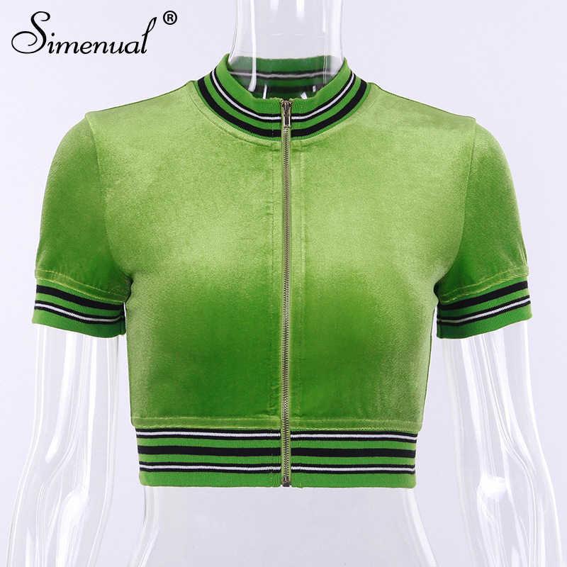 Simenual ジッパーセクシーなホット Tシャツ女性半袖ベルベットクロップトップパッチワークストリートスリム夏の Tシャツ 2019 ファッション