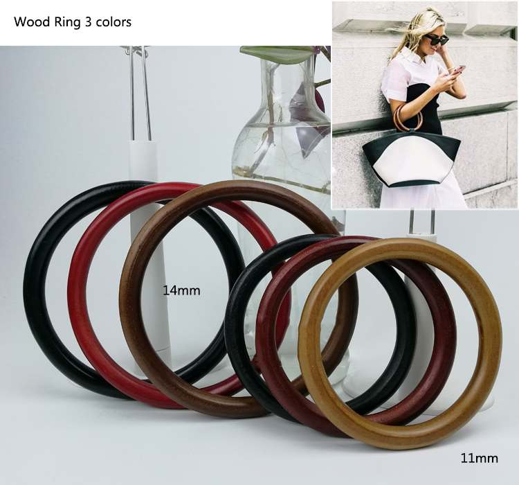 1 Pair 11,14cm Meetee Wood ring DIY Bag Handle Accessories Wooden Bag Frame round hand-pull Wooden Purse Frame 3 colors