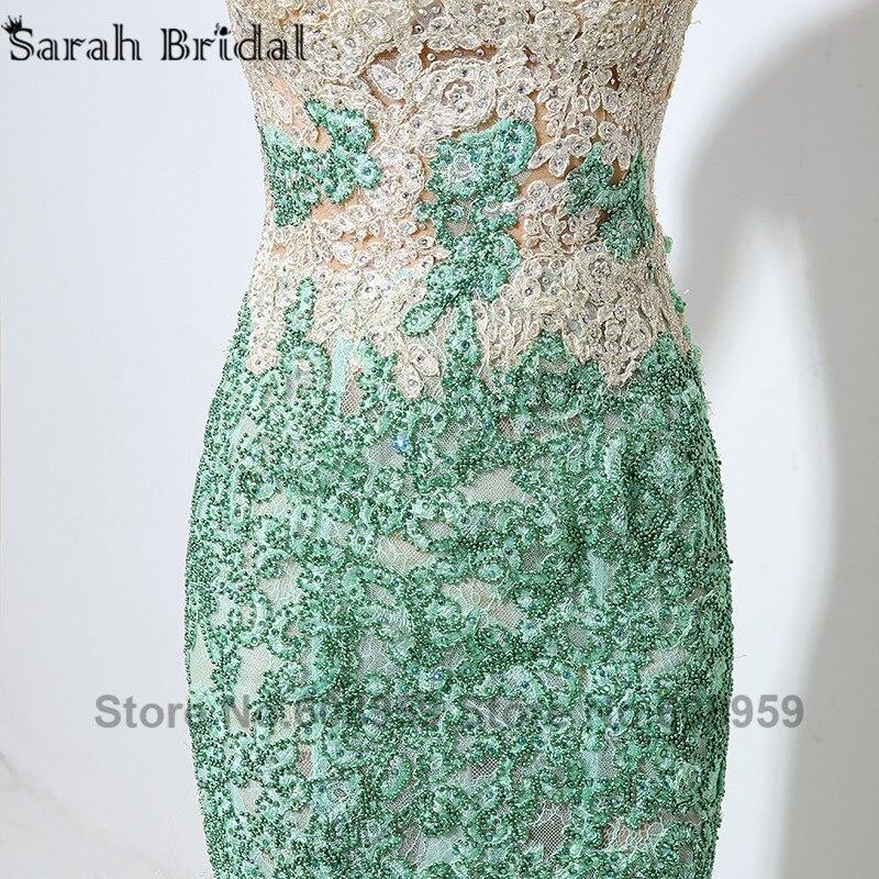 Menthe Dubai caftan sirène robes de soirée Sexy Illusion pure cristal perlé dentelle Appliques robe de bal réel échantillon LSX003 - 3