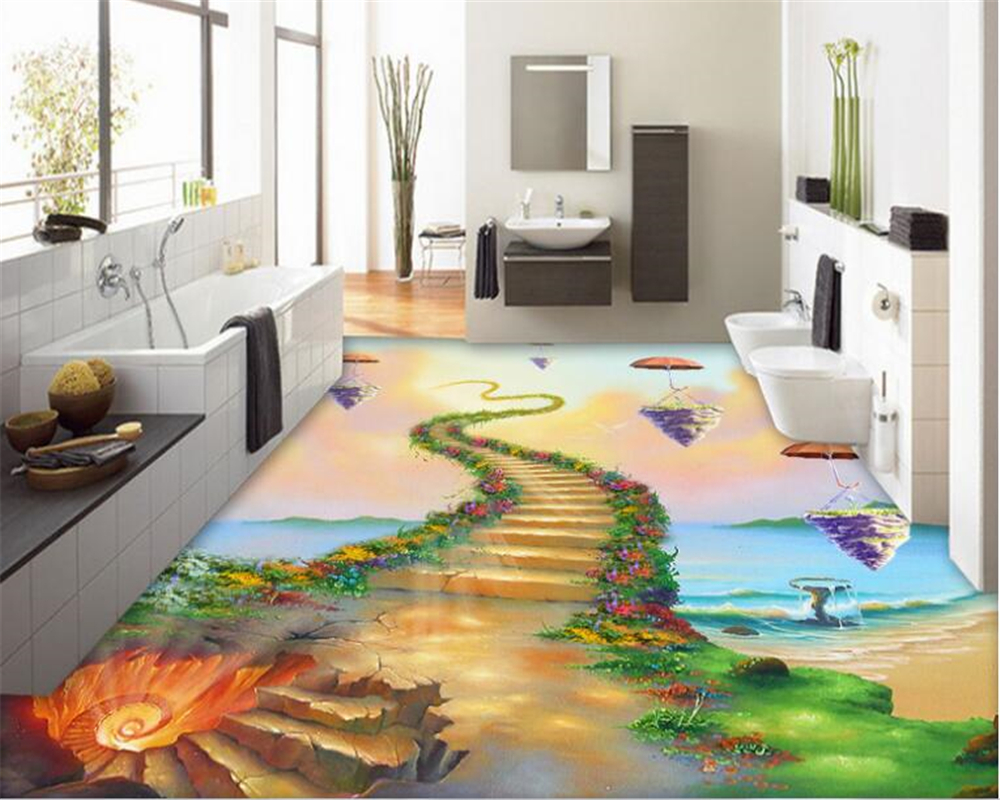 beibehang Fantasy fashion high pvc papel de parede 3d wallpaper beautiful seaside ladder indoor flooring painting