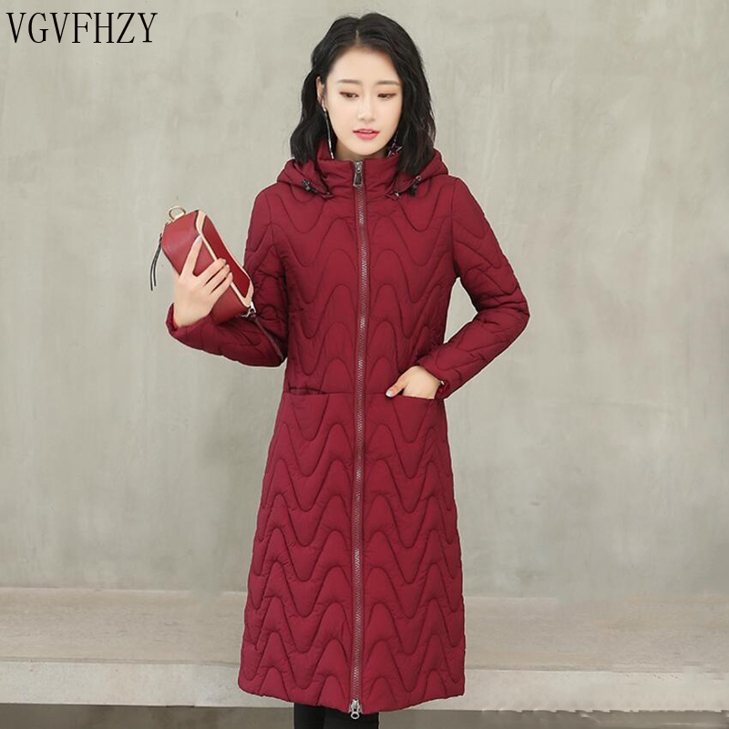 Warm Hooded Fur Collar Cotton Long Parka Plus Size Women Winter Coat Jacket 2018 Clothing For