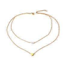 3469dd982c99 Collar gargantilla en capas de perlas de imitación y corazón de Metal para  mujer en acero inoxidable dorado Día de San Valentín .