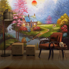 Customized 3d wallpaper European-style hand-painted oil painting landscape background wall advanced waterproof material