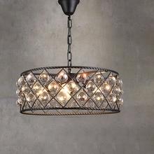 أسود الحديد الفاخرة دائري الإبداعية الحديثة قلادة ضوء الكريستال الأزياء مصابيح Led Chiip ل Dinging غرفة شريط المنزل الإضاءة