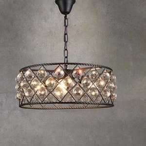 Image 1 - שחור ברזל מעגלי יוקרה Creative מודרני תליון אור גביש אופנה מנורות Led Chiip עבור Dinging חדר בר בית תאורה