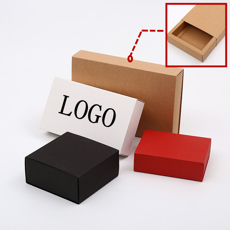 10sizes 3colors Luxury Black Kraft Paper Sliding Box Cardboard