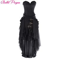 Belle Poque 2017 New Women Retro Pleated Solid Black Long Skirt Ruffle Maxi Summer Autumn Victorian