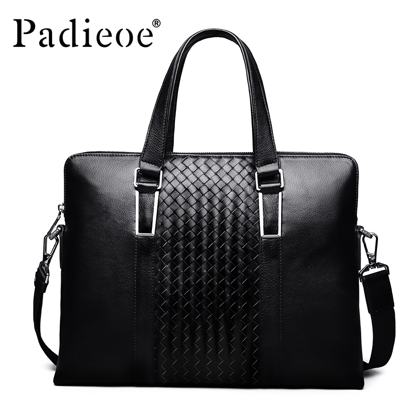 Padieoe Luxury Men Bag Genuine Leather Handbag Shoulder Bag Business Men Briefcase Laptop Bags padieoe luxury men bag split leather classic business men briefcase laptop bags brand handbag
