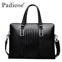 Padieoe Luxury Men Bag Genuine Leather Handbag Shoulder Bag Business Men Briefcase Laptop Bags