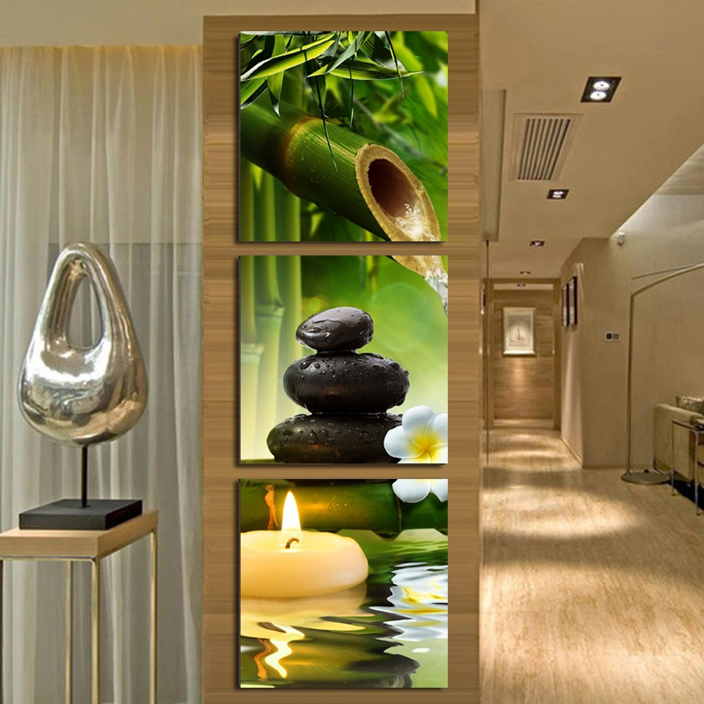 Green Bamboo Stone Spa Hd Printings Paintings Wall Art Home Decoration Frame Canvas Oil Painting For Living Room Bedroom Ht036 In Calligraphy