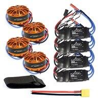 DIY Quadcopter Drone Motor Combo 4pcs 3508 700kv Motor + 4pcs HOBBYWING Platinum 30A ESC + XT60 Connector+Fastening Tape